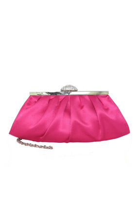 La Regale Satin Clutch on Frame with Rhinestone Closure