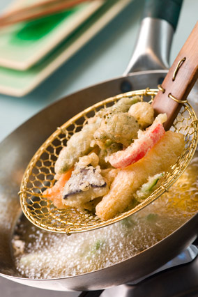 Cooking Japanese tempura vegetables