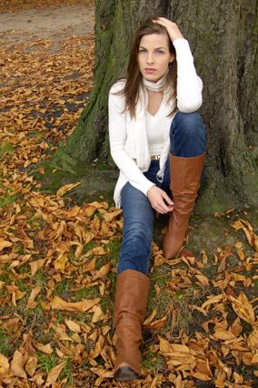 woman wearing orange-brown boots