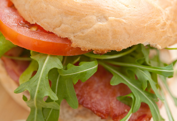 Bacon, tomato and greens sandwich