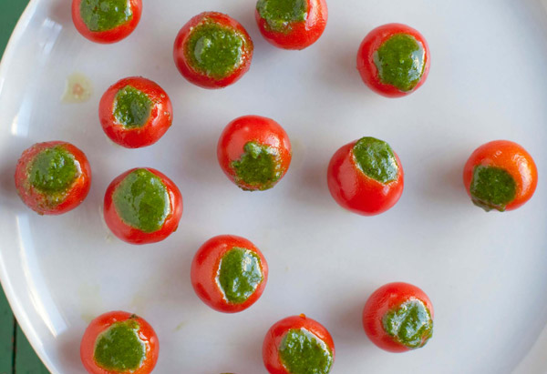 One bite appetizer recipes finger food for parties cherry tomatoes stuffed with pesto forumfinder Gallery