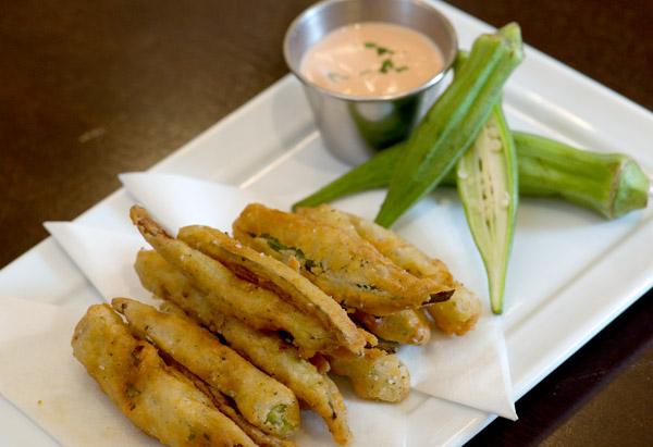 Crispy Okra Chips with Tomato Aioli