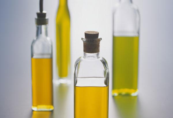 Different bottles of olive oil