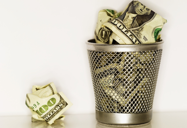 money in garbage