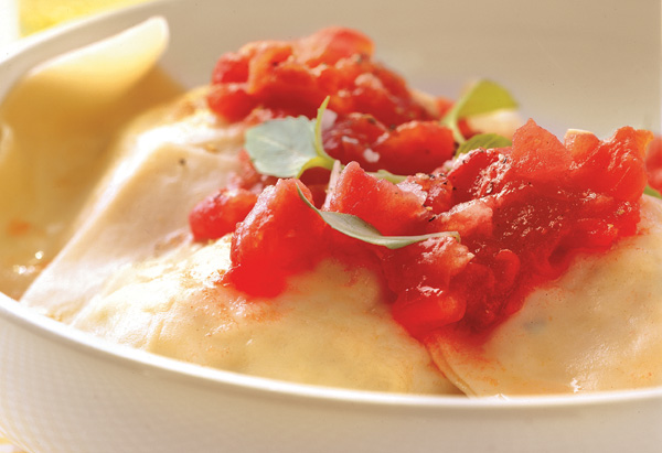 Crab and Goat Cheese Wonton Ravioli with Tomato Sauce
