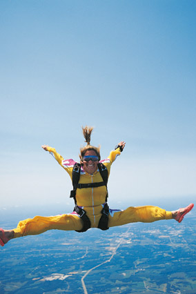 Woman doing stunts while skydiving