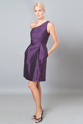 One-shoulder taffeta dress