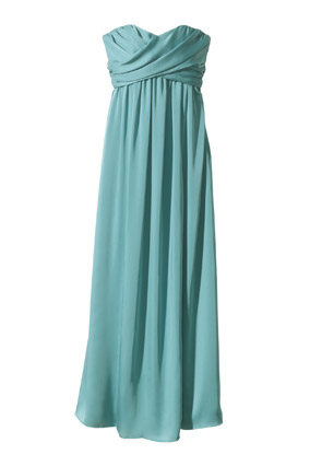 Target Strapless Wrap-Front Chiffon Maxi Dress in Blue Ocean