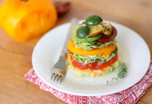 Rainbow Lasagne with Heirloom Tomatoes, Mushrooms and Castelvetrano Olives