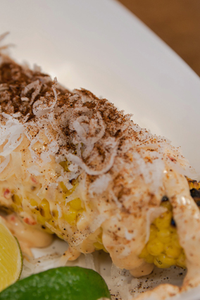 Grilled Coconut Corn with Chili Mayo