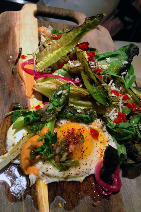 Grilled Romaine Salad with Asparagus, Romesco and Farm Egg