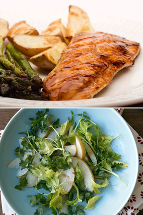 Miso-glazed salmon and Asian Pear Salad