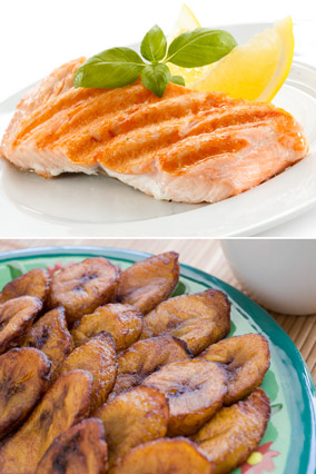 Citrus salmon and plantains