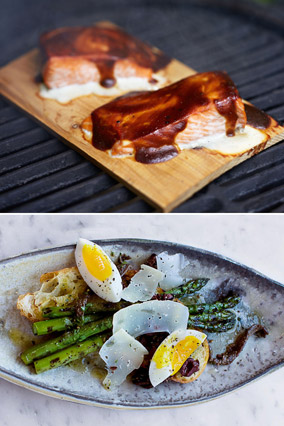 Wood Plank Salmon and Grilled Asparagus