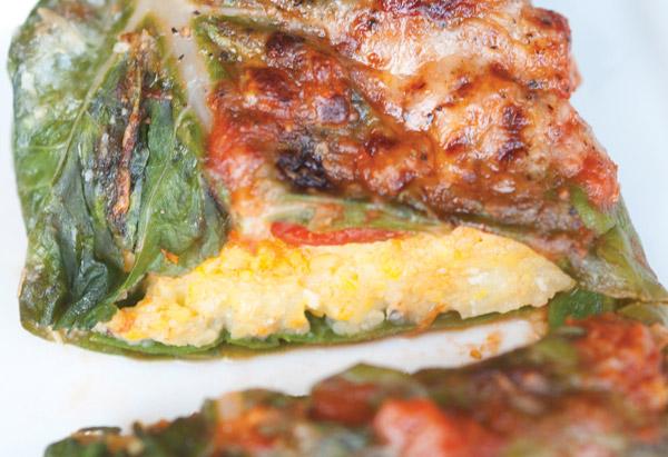 Polenta-Stuffed Chard with Bubbly Parmesan