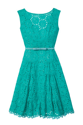 Teal eyelet dress