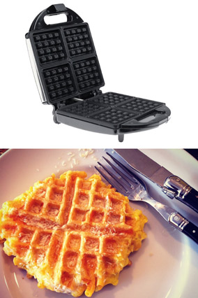 Macaroni and cheese waffle