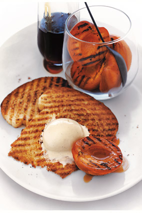 Grilled Apricots with Brioche and Vanilla Ice Cream