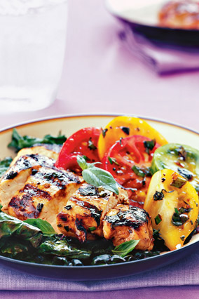 Basil Chicken with Grilled Kale and Heirloom Tomatoes