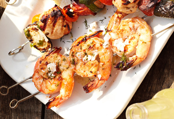 Greek Shrimp Skewers with Feta