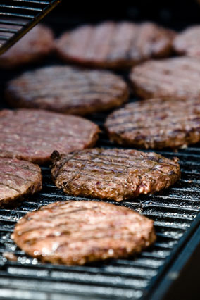 Burger patties on a grill