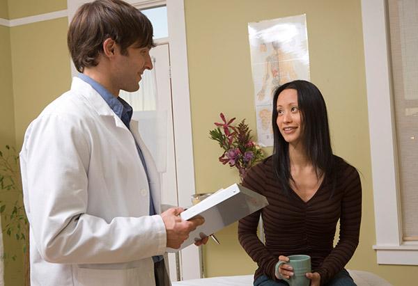 Woman in doctors office