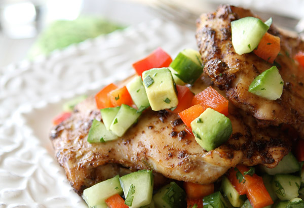 Spicy Chicken Thighs with Cucumber Avocado Salsa