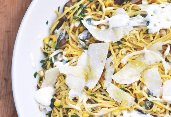 Pasta with Corn, Mushrooms, Crispy Shallots and Creme Fraiche