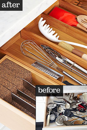 Kitchen drawers before and after