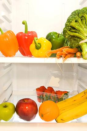 Middle shelves of fridge
