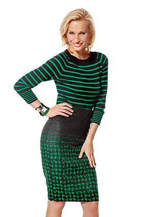 green sweater and skirt