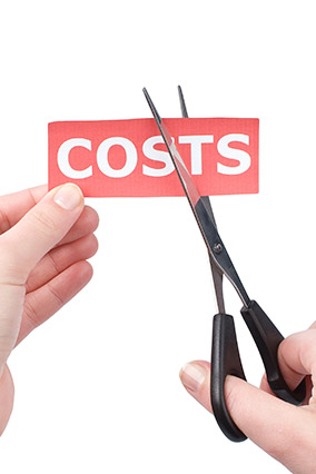 "Scissors cutting ""costs"" sign"
