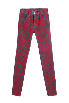 Printed red jeans