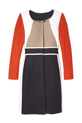 Red, black and beige graphic coat