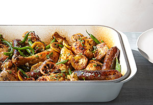 Roast Chicken with Green Beans and Artichokes