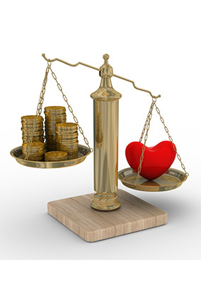 Weighing love and money