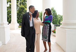 Barack and Michelle Obama with Oprah at the White House