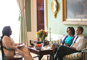 The Obamas in the White House green room