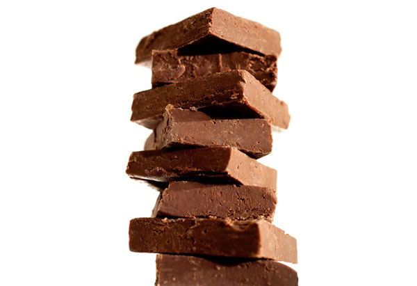 Stack of fudge squares