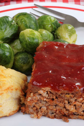 Meatloaf, biscuit and Brussels sprouts