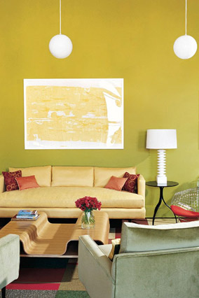 Lance Boyd yellow and green living room