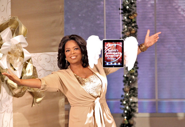 Oprah Winfrey presenting the iPad as her number one Favorite Thing