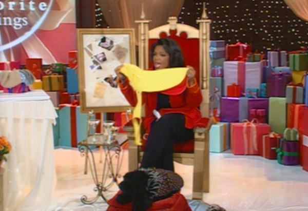 Oprah Winfrey sits in throne holding yellow dog slicker