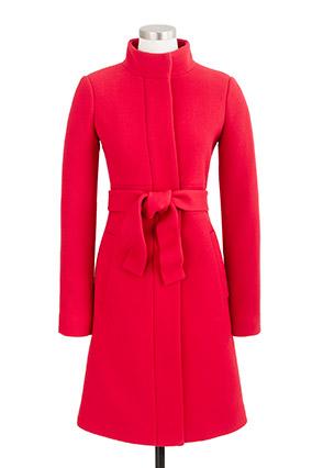 Red J.Crew funnel-neck coat