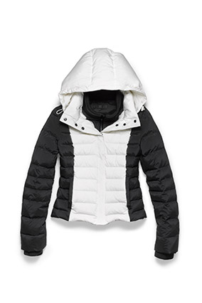 Black-and-white T-Down by Theory puffer jacket