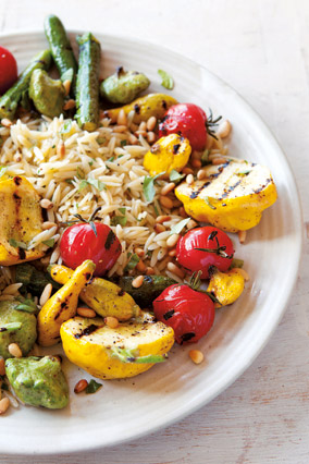 Grilled Squash and Orzo Salad with Pine Nuts and Mint