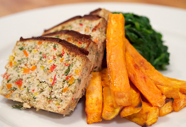Meatloaf, spinach and sweet potato fries
