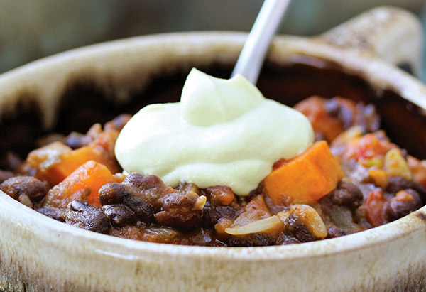 Chipotle Chili with Avocado Sour Cream