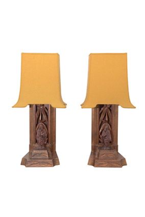 Pair of carved bamboo and figurine lamps by James Mont