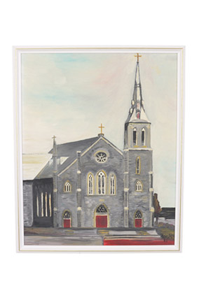 Framed painting of a cathedral